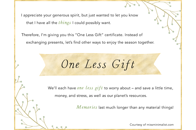 One Less Gift – A Holiday Gift Exemption Certificate